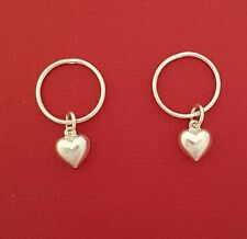 Sterling Silver Sleepers Heart Earrings Hinged 12mm New charm Dangle love hoop