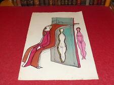 Hermoso Dibujo ORIGINAL1970 Fieltro Acuarela Surrealismo Arte Psychédélisme