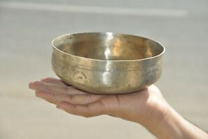 Old Brass/Bell Metal Handcrafted Unique Shape Engraved Bowl