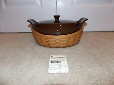 * Longaberger * Medium Crescent Casserole Combo (Chocolate Pottery + Wb Basket)