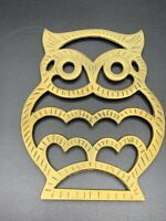 Vintage Brass Trivet Owl Decor  Plate Stand Hot Plate Interpur Korea