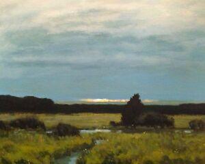 Summer Skies Impressionism Modern Tonalist American Landscape Art Oil Painting