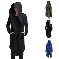 Loose Solid Men Punk Gothic Long Cloak Cape Coat Cardigan Hoodie Fashion Jackets