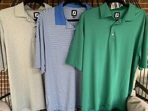 FOOTJOY XL Mens Green, Blue/Gray Stripe, Gray Golf Casual Polo Shirt Stretchy