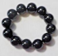 Vintage Hard Plastic Black Beads Stretch Bracelet