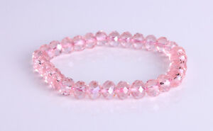 Pink Crystal Ab Elasticated Bracelet