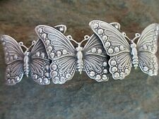 Butterfly Silver Plated French Clip Hair Barrette 70MM Clip Made in USA 6054S