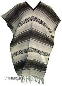 Traditional Mexican Poncho - GRAY - ONE SIZE FITS ALL Blanket Serape Gaban E16