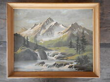 1967 Vintage Paint by Number Mountain Stream Framed Flea Market 19 x 15 apx