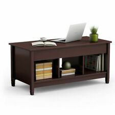 Costway HW55643WH Lift Top Coffee Table with Hidden Storage Compartment - White