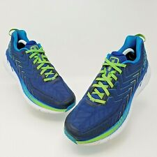 Hoka One One Clifton 4 Mens Blue Green Athletic Running Shoes Size 11 1016723