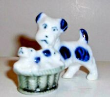 "Vintage Japanese Porcelain Dog Figurine ""Terrier Dog w/Puppies in a Basket�"