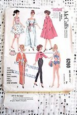 VINTAGE 6260 SEWING PATTERN~1962~BARBIE DOLL CLOTHES:BIKINI&KIMONO&COAT+FUR HAT+