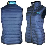 Women's Puffer Vest Jacket Light Weight Quilted Down Vest Cardigan Navy-Sky Blue
