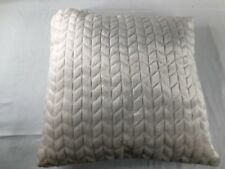 NWOT Charter Club Eyelash Stripe Faux-Fur Decorative Pillow Baige