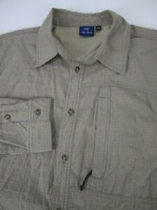 Mens Arc'teryx LS seersucker nylon tan button vented shirt VTG Fits XL L