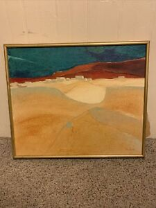 FRANCES ROBERTA MALOVOS PAINTING DESERT INDIAN DWELLINGS AMERICAN ABSTRACT MOD