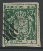 Spain - 1854, 5r Deep Green stamp - Used - SG 37a