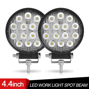 2X 4in Round LED Work Spot Light Pods Driving Fog Lamp Offroad 4WD ATV Truck UTV