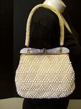 Vintage 1950-60's Bead Evening Handbag Purse Made In Hong Kong Lucite Frame