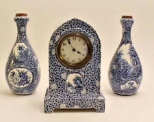 Boch Pottery Clock set Vases Forest Blue white delft decor 1925 marked