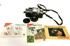 Vtg Canon AE-1 Program Camera Silver/Blk w/ FD 50mm F/1.8 Lens Sporty Grip EUC
