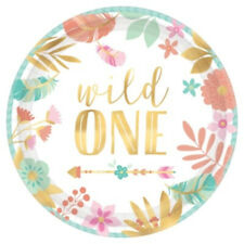 Party Supplies Girl Boho Floral Baby Birthday Wild One Lunch Small Plates PK 8