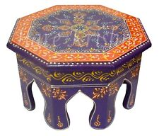 Home Decor Wooden Side Table Painted Footstool Pooja Chowki Table (Purple) 10""