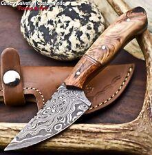 Rare Custom Hand Made Damascus Steel Blade Full Tang Hunting Knife   Olive Wood