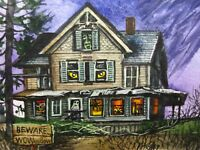 Watercolor Painting Halloween Haunted House Night Forest Nature ACEO Art