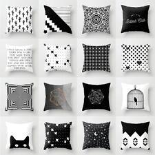 Pillow Case 18'' Geometric Cushion Cover Black And White Throw Waist Home Decor