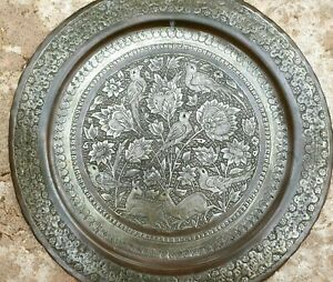 100 YEARS OLD Antique Persian Silver Copper Middle East Engraved Tray Plate 40cm