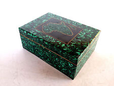 Carved Malachite Stone Trinket Jewelry Box Brass Inlay Africa Continent On Lid