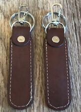 Lot of 2 Brown Keychain Car Keys Holder Handmade Supreme Leather Key Ring Keyfob