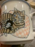 🔥Extremely Rare OTAGIRI Mug Mother Cat Laying W Kittens Coffee Tea Cup Vintage
