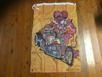 Rat fink outlaw biker mancave idea bar flag man cave banner Harley mens gift