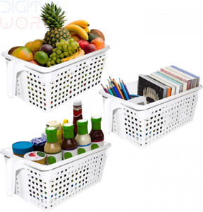 Kurtzy White Handy Storage Baskets/Boxes with handles (3 Pack) - 3 Pack