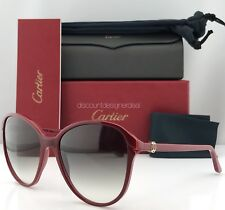 Cartier Women Sunglasses Double C Decor ESW00111 Burgundy Composite Gray Lens