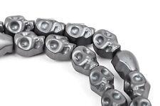Matte Dark Silver GREY HEMATITE SKULL Beads, Titanium full strand 10x8mm ghe0046
