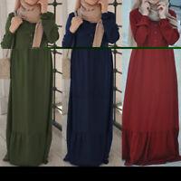 Womens Muslim Long Sleeve O Neck Layered Ruffles Elegant Laides Maxi Abaya Dress