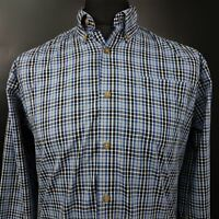 Wrangler Mens Casual Shirt SMALL Long Sleeve Blue Regular Fit Check Polyester