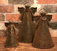 Primitive Rusty Tin-Punched Metal Three Angels Candle Holder Set