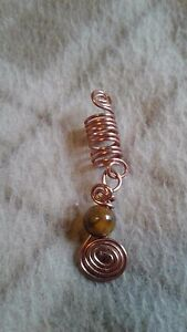 Dreadlock jewelry with Tigers eye crystal, Loc jewelry dreadlock charm accessory
