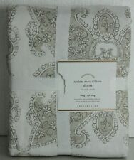 NEW POTTERY BARN AIDEN MEDALLION Neutral King DUVET COVER Beige Ivory linen