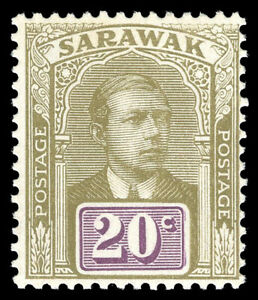 Sarawak 1918 KGV 20c olive & violet mint lightly hinged. SG 58. Sc 66a.