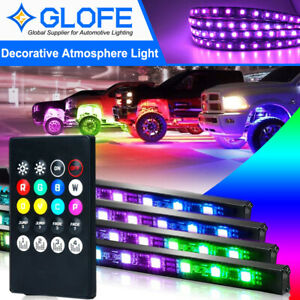 4pc RGB Under Car Strip Light Kit LED Neon Tube Underglow Underbody Chassis Lamp