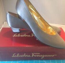 Salvatore Ferragamo Ladies Snella Gray Satin Low Heel Shoes DE 25217 6.5 AA