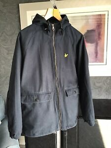Lyle And Scott Mens Cotton Hooded Blue Jacket Brand New Size Small