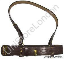 More details for sam browne belt + sam brown shoulder strap brown leather brass sam  usl