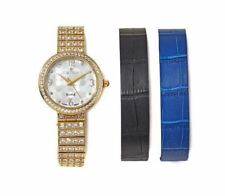 Croton Interchangeable Goldtone and Leather Straps Bracelet Watch